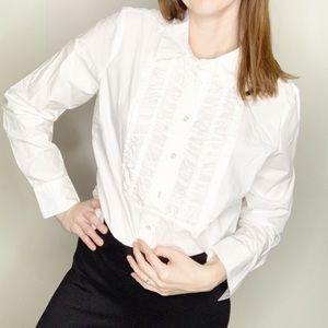 BODEN Tuxedo Ruffle Pintuck White Button Up Blouse